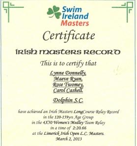 Dolphin - Irish Masters Relay Record
