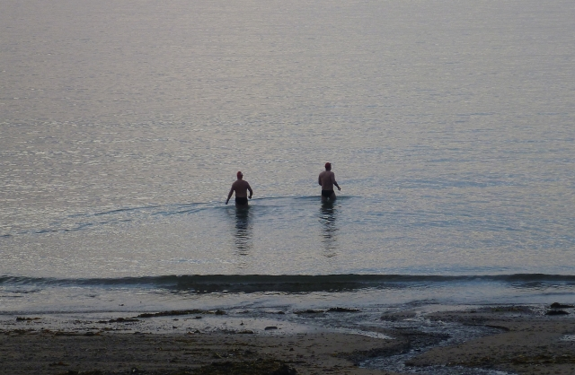 Then Rob and Ciarán arrived for their morning swim.