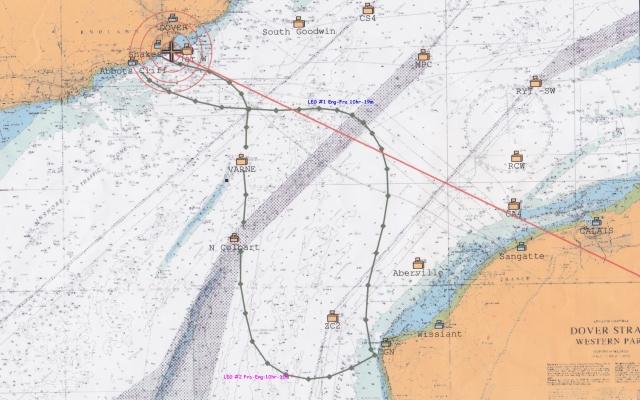 Crosóige Mara Chart of Swim: Leg1: Eng-Fra 10hr19 Leg2:Fra-Eng 10hr10