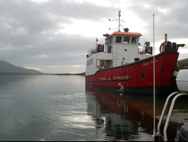 Setting off from the Slipway, ready to swim 24km/15miles around Bere Island